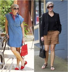 Chic Over 50, Over 60 Fashion, Casual Looks, Vintage Dresses, Shirt Dress, Shorts, My Style, Womens Fashion, Outfits