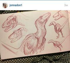 Jonathan Kuo Dinosaur Sketch, Dinosaur Drawing, Dinosaur Art, Prehistoric Creatures, Mythical Creatures, Drawing Tips, Drawing Reference, Illustrator, Concept Art World