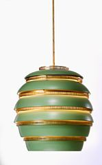 "Alvar Aalto: Rare pendant with ""beehive"" shade of green lacquered sheet metal in six levels with perforated brass rings.Jean Jacques Baruel recived the pendant and a very early""Savoy"" vase as a wedding gift from Alto in1954.Since then the lamp hung over a side table with the vase on top"