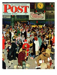 """""""Union Train Station, Chicago, Christmas"""" Saturday Evening Post Cover, December 23,1944 Giclee Print by Norman Rockwell"""