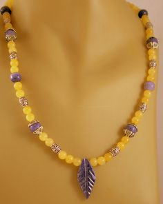 Yellow Jade and Sodalite Necklace  Yellow and Blue by BlingbyDonna, $31.00