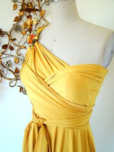 Golden Sunset Satin Daffodil Convertible Wrap Dress- Last of Fabric. $79.99, via Etsy.
