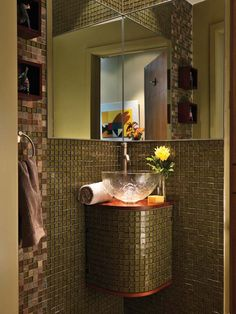 A Corner Mirror And Sink Base Tiled To Match The Walls Make Tiny Powder