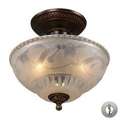 ELK 08098AGBLA Restoration Flushes Glass Semi Flush Ceiling Lighting 3LT Golden Bronze * Visit the image link more details. (Note:Amazon affiliate link)
