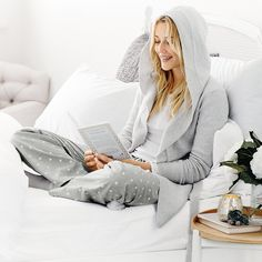 Cosy up with your favourite book  (Hooded Wrap Cardigan | The White Company)