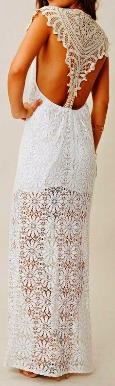 Gorgeous embroidered back detail lace maxi dress | LBV ♥✤ | KeepSmiling | BeStayElegant