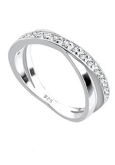"""Wunderschöner geschwungener Ring aus feinem 925er Sterlingsilber besetzt mit 15 funkelnden Kristallen von Swarovski in CRYSTAL, einem strahlenden Weiß.  Weitere Hilfe zur Ringgröße:  Angegebene Größe in mm entspricht """"Ring Innen-Umfang"""", Umrechnung in """"Ring Durchmesser Ø"""" wie folgt:  52mm Umfang = 16,5mm Ø 54mm Umfang = 17,2mm Ø 56mm Umfang = 17,8mm Ø 58mm Umfang = 18,4mm Ø  Produktdetails: Ste..."""