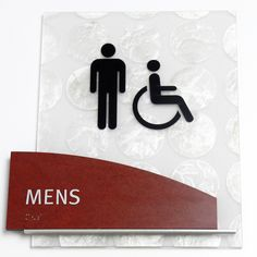 Fusion ADA restroom sign with Capiz backer. Ada Restroom, Ada Signs, Sign System, Signage Design, Symbols, Mall, Projects, Numbers, Interior