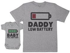 Baby Full Battery - Passende  Vater Baby  Geschenkset - Herren  T- 6a36f113a2