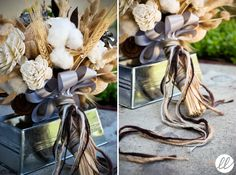 Handmade paper roses, dried wheat, lotus pods, and raw cotton tied with ribbon and yarn.