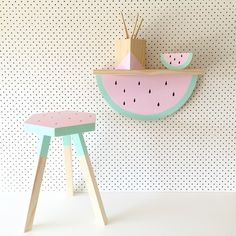 Cute hand painted timber watermelon shelf and stool.