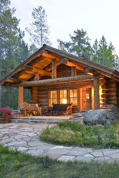 Rustic Front Door with Pathway, Glass panel door, Skip pealed logs, Patio Stone Flagstone, Rustic wood seating