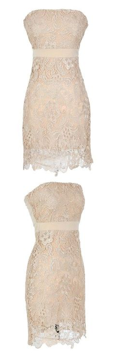 Ivory Cream Lace Strapless Cocktail Dress.