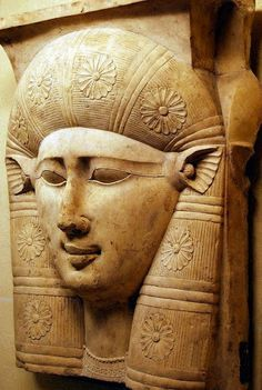 The face of the goddess Hathor, with cow ears. A fragment of a capital from a column. 3rd century BC. Go for a vacation to the Ancient Egypt now with us. #hathor #statue #ancientegyptians #Egypttour