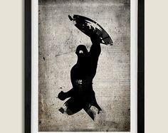 Minimalist Superheroes Vintage Poster Set of 6 Prints