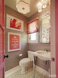 Teen Girl's bathroom with Kathryn collection. #Pink #bathroom