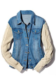 Cable knit sweater sleeved denim jacket