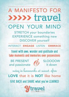 10 Principles to Make Your Travels Memorable – Our Travel Manifesto. You could change it to a team challenge manifesto Us Travel, Places To Travel, Travel Guide, Travel Destinations, Solo Travel, Travel Stuff, Budget Planer, Travel Quotes, How To Plan