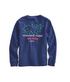 Shop Boys Long-Sleeve Holiday Lights Whale Pocket T-Shirt at vineyard vines