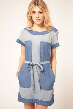 French Connection Denim Panel Dress,