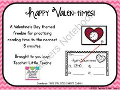 Valentines Day Telling Time Math Station from Teachin' Little Texans on TeachersNotebook.com -  (6 pages)  - Valentine themed math station for telling time to the nearest 5 minutes