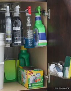It was a big mess under our kitchen sink, with cleaning products and rags galore. Here's how I made a few simple changes to get this space looking good! Such simple tips to get your kitchen organized and easy things to buy to keep your cleaning supplies on-hand.