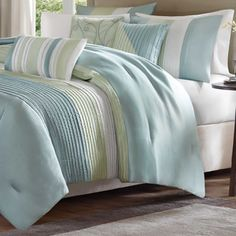 Madison Park Chester Green/Blue 7-piece Comforter Set - Overstock Shopping - Great Deals on Madison Park Comforter Sets