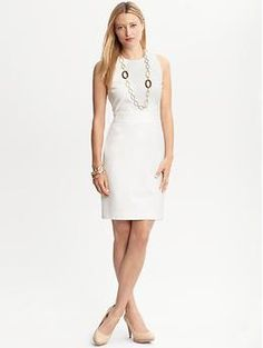 Sleeveless knit ponte dress | Banana Republic    not sure if material is too thick? is neckline to boring?