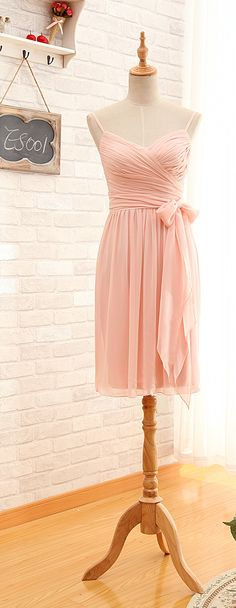 Short Spaghetti Straps Blush Pink Bridesmaid Dress