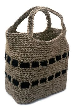 Strong Tote Shopping Bag.     Unisex.     Crocheted Jute with Plain black bands