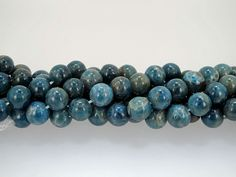 Natural Blue Apatite Round Gemstone Beads 10mm, half strand by Susiesgem on Etsy
