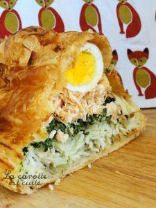 Koulibiac au saumon (riz, œufs et épinards)