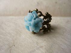 Mint Blue Flower Ring.