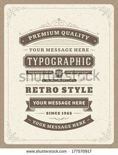 Retro typographic design elements. Template for design invitations, posters and other design. Flourish and calligraphic.  - stock vector