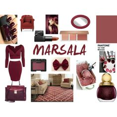 Marsala 2015 by magdishia on Polyvore featuring uroda, Valentino, Sephora Collection, Beauty, pantone, 2015 and marsala