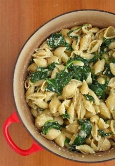 Pasta, spinach, olive oil, garlic, and parmesan.
