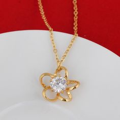 45.5cm 18K Gold Plated Fashion Flower Design Inlay Zircon Pendant Copper Necklace Copper Necklace, Beaded Necklace, Fashion Necklace, Fashion Jewelry, Flower Fashion, Flower Designs, 18k Gold, Jewelry Gifts, Beads