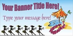 Hawaiian Luau Party Banner personalized by bannergrams.com