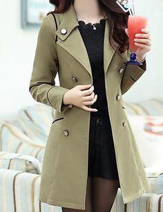 Trench Femme - Couleur Pleine Chic de Rue Coton Style moderne   Couleur  unie   Automne. Trench FemmeManches LonguesAutomne ... b6e7ac338d1