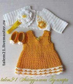 {Typical and custom made newborn baby dress, creates the best solution. Crochet Dress Girl, Baby Girl Crochet, Crochet Baby Clothes, Crochet For Kids, Crochet Dresses, Baby Pullover, Baby Sweaters, Little Girl Dresses, Beautiful Crochet