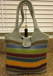 Ravelry: Agilejack's Striped Scrap Felted Wool Bag I made this bag because I wanted one, and because I wanted to use up scraps of yarn that weren't big enough for a full project. I love the way this turned out. I think it will be my winter hand b. My Bags, Purses And Bags, Felt Purse, Felt Bags, Felted Wool Crafts, Yarn Crafts, Recycled Sweaters, Felted Slippers, Knitted Bags