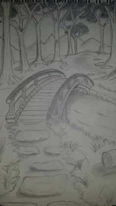Brücke Brücke The post Brücke appeared first on Frisuren Tips. Easy Pencil Drawings, Landscape Pencil Drawings, Landscape Sketch, Cool Art Drawings, Art Drawings Sketches, Beautiful Drawings, Landscape Art, Drawing Ideas, Easy Nature Drawings