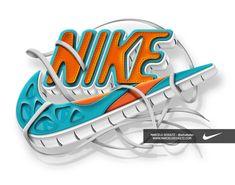 Nike - Futura logo by Marcelo Schultz, via Behance - 3D Typography Design Modelling