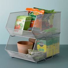 Silver Mesh Stacking Bins | The Container Store for pantry