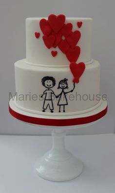 Heart balloon and stick drawing couple wedding cake