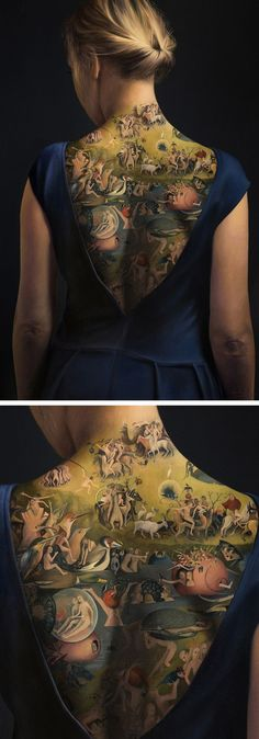 The Garden of Earthly Delights by Agnieszka Nienartowicz shows a young girl adorned with a back tattoo inspired by Hieronymus Bosch's iconic 15th-century painting.