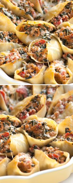 The filling for our sausage stuffed shells recipe with spinach isn't overly gooey or soft, so not only do they make for an excellent dinner served with a salad on the side, they double as finger food (Pork Sausage Recipes) Sausage Stuffed Shells, Spinach Stuffed Shells, Stuffed Shells Recipe, Stuffed Pasta Recipes, Healthy Stuffed Shells, Chicken Stuffed Shells, Stuffed Shells Filling, Italian Stuffed Shells, Cooking Recipes