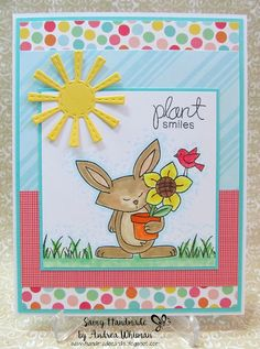 handmade card using Garden Whimsy stamp set by Newton's Nook Designs
