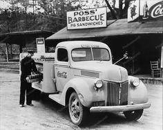 Barbecue Pit & Antique Coca Cola Truck 8x10 Reprint Of Old Photo Coca Cola Delivery Truck Poss Barbecue Pit 1950's Photo Here is a neat collectible featuring Famous Poss' Restaurant, in Athen Georgia.