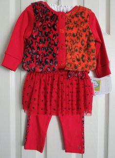 NEW Truly Scrumptious Girls' Red LEOPARD Cardigan Sweater & TUTU Leggings-Sz 9mo #TrulyScrumptiousbyHeidiKlum #DressyEveryday